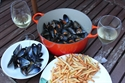 Mussels with garlic, chili and lime